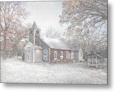 Snow Fall Old Church Metal Print by Cindy Rubin