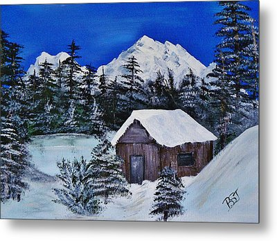 Snow Falling On Cedars Metal Print by Barbara St Jean
