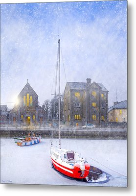 Snow Falling On The Claddagh Church - Galway Metal Print