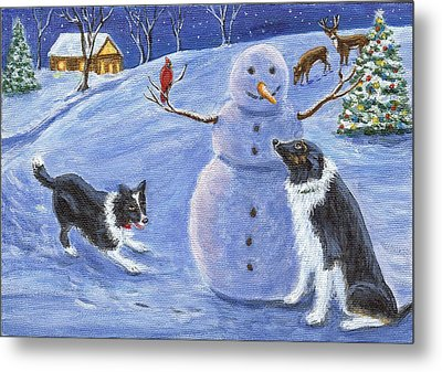 Snow Friends Metal Print by Fran Brooks
