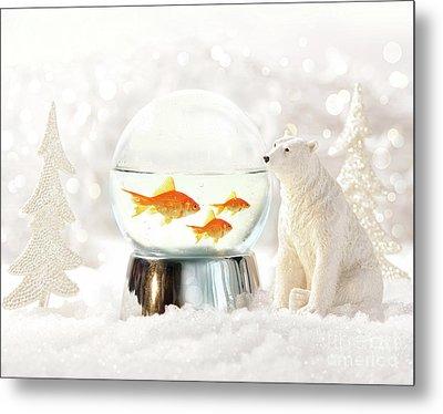 Snow Globe In  Winter Scene Metal Print by Sandra Cunningham
