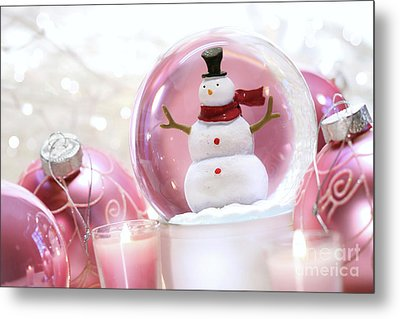 Snow Globe With Pink  Balls  Metal Print by Sandra Cunningham