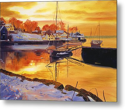 Snow Harbor Metal Print