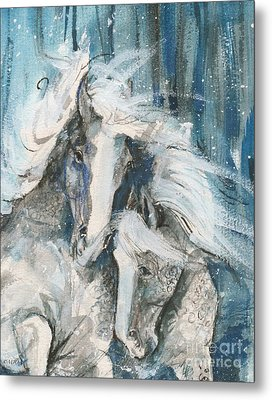 Snow Horses2 Metal Print by Mary Armstrong