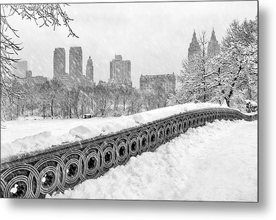 Snow In Central Park Nyc Metal Print