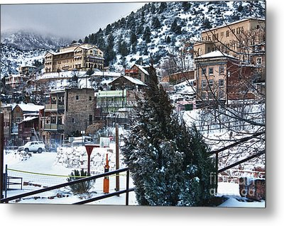Snow In Jerome Arizona Metal Print by Ron Chilston