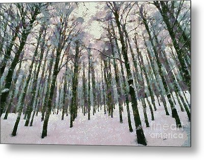 Snow In The Forest Metal Print by George Atsametakis