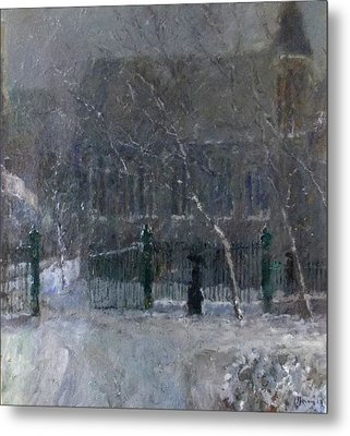 Snow In The Park Metal Print by Malcolm Mason