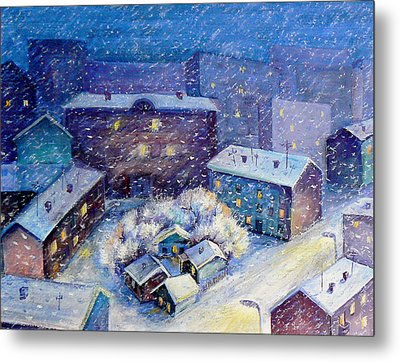 Snow In The Town Metal Print by Svetlana Nassyrov