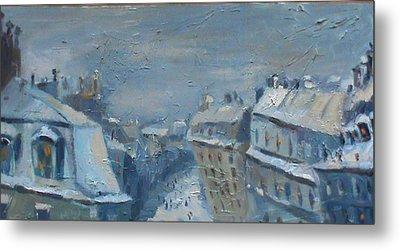 Snow Is Paris Metal Print by NatikArt Creations