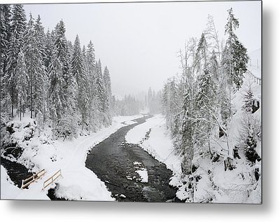 Snow Landscape - Trees And River In Winter Metal Print by Matthias Hauser
