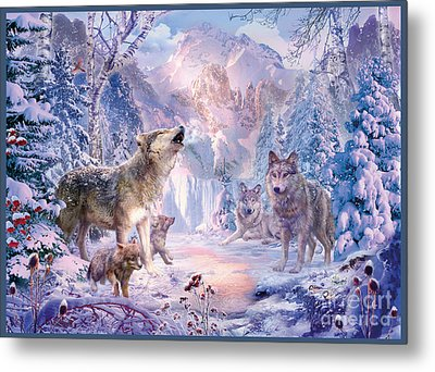 Snow Landscape Wolves Metal Print