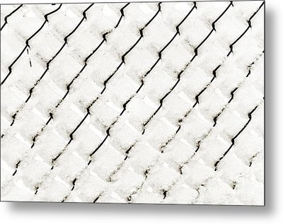 Snow Link Fence Metal Print by Andee Design