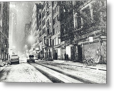 Snow - New York City - Winter Night Metal Print by Vivienne Gucwa