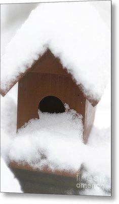Snow On Bird House Metal Print by Birgit Tyrrell