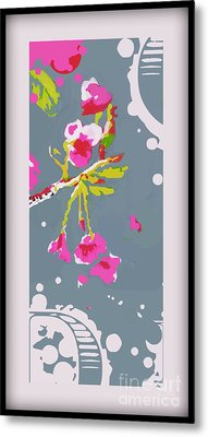 Snow On Cherry Blossom Metal Print by Wendy Wiese