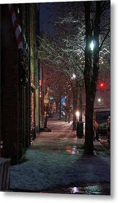 Snow On G Street 2 - Old Town Grants Pass Metal Print by Mick Anderson