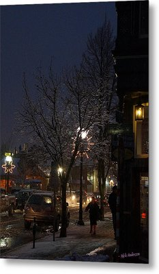 Snow On G Street 4 - Old Town Grants Pass Metal Print by Mick Anderson