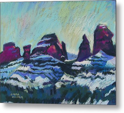 Snow On Peaks Metal Print by Linda Novick