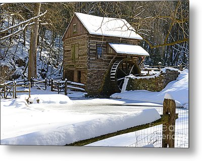Snow On The Fence Metal Print by Paul Ward