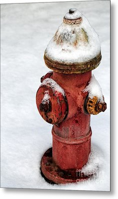 Snow On The Hydrant Metal Print by John Rizzuto