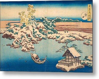 Snow On The Sumida River Metal Print
