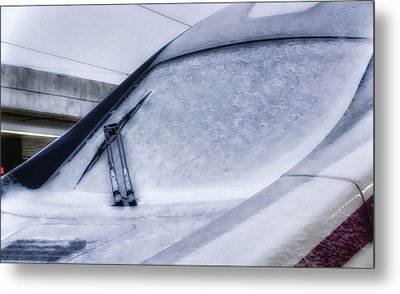 Snow On The Train Metal Print by Joan Carroll