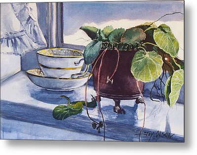 Metal Print featuring the painting Snow Outside The Window by Joy Nichols