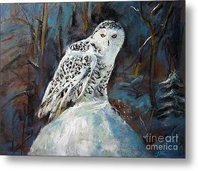 Metal Print featuring the painting Snow Owl by Jieming Wang