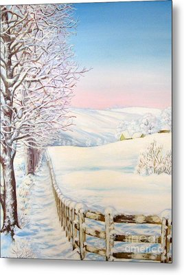 Metal Print featuring the painting Snow Path by Inese Poga