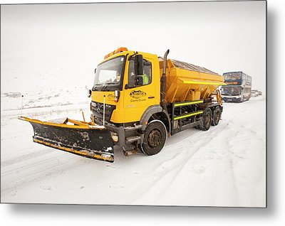 Snow Plough On The Road Metal Print by Ashley Cooper