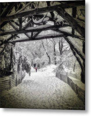 Snow Scene In Central Park Metal Print
