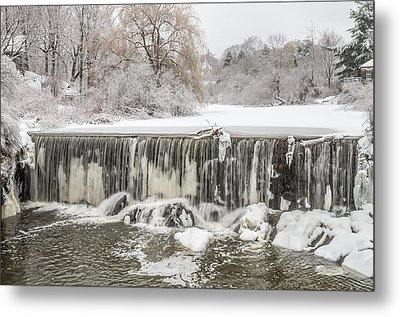 Snow Sleet And Freezing Rain On The Falls Metal Print