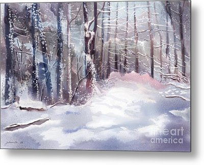 Snow Sparkled Woods Metal Print