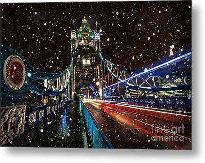 Snow Storm Tower Bridge Metal Print