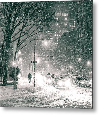 Snow Swirls At Night In New York City Metal Print