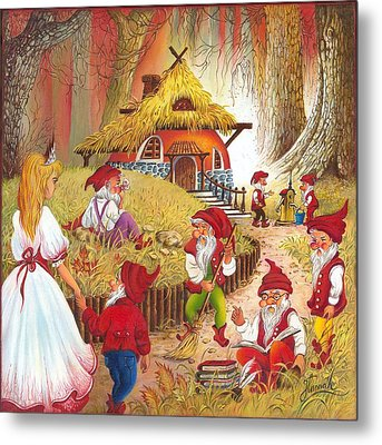 Snow White And The Seven Dwarfs Metal Print by Anna Ewa Miarczynska