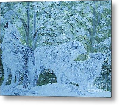 Snow Wolves Metal Print by Eloise Schneider