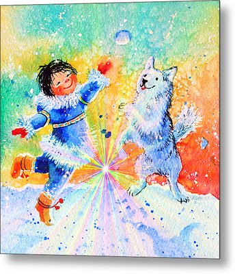 Snowball Fun Metal Print by Hanne Lore Koehler