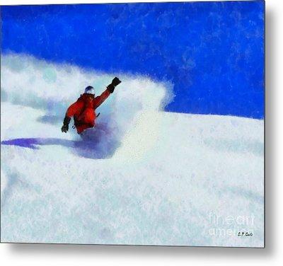 Snowboarding  Metal Print by Elizabeth Coats