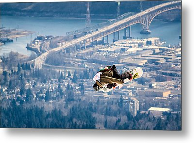 Snowboarding Over The City Metal Print