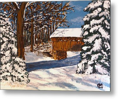 Metal Print featuring the painting Snowbridge by Cynthia Morgan