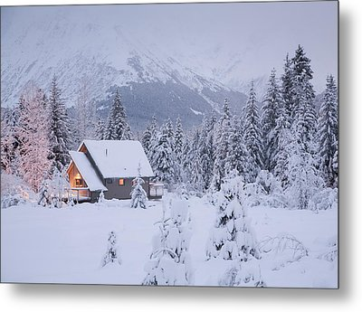 Snowcovered Home In A Wintry Meadow At Metal Print