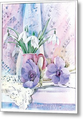Snowdrops And Anemones Metal Print by Julia Rowntree
