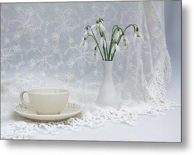 Snowdrops At Teatime Metal Print by Ann Garrett