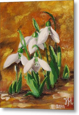 Metal Print featuring the painting Snowdrops by Nina Mitkova