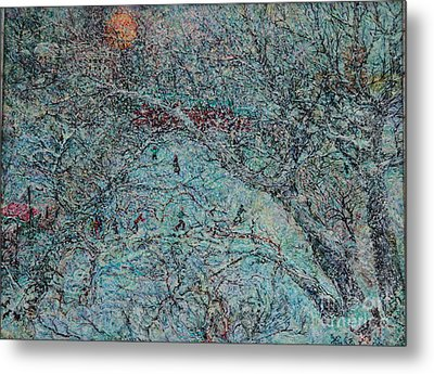 Snowfall In Moscow's Lublino Park Metal Print