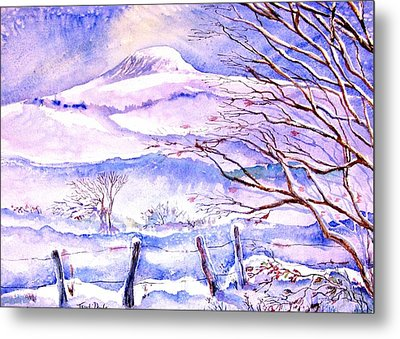 Snowfall On Eagle Hill Hacketstown Ireland  Metal Print by Trudi Doyle