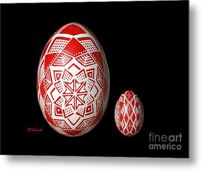 Snowflake Lace 1 - Red And White Metal Print by E B Schmidt