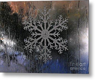 Snowflake On A Night Window Metal Print by Elaine Manley